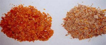 Fracciones de pieles y semillas.