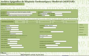 Formulario de la Base de Datos del Archivo Epigráfico de Hispania. Corresponde a una inscripción funeraria de Montemayor (Córdoba).