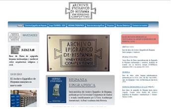 """Portada de la página web del """"Archivo Epigráfico de Hispania"""". Pulse en la imagen para acceder a dicha página."""