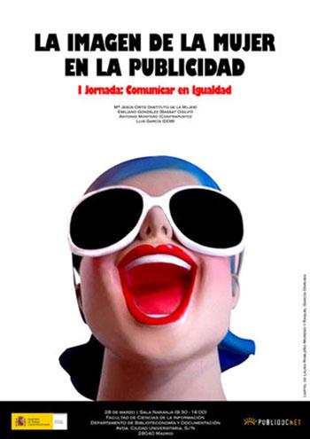"""Ejemplo de cartel del evento, titulado: """"La imagen de la mujer en la Publicidad"""", realizado por las alumnas de la UCM Laura Robleño Moreno y Raquel García Honrubia."""