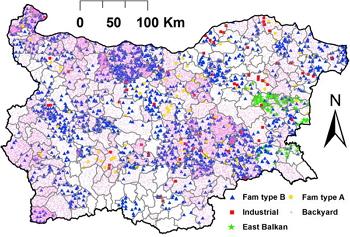 Simulación del desarrollo de una epidemia de Fiebre Porcina Clásica en Bulgaria.