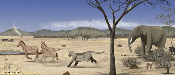 Image of an arid savanna during the middle Miocene in Madrid. / Marco Ansón.