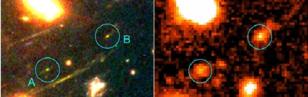 A la izquierda, una imagen en falso color obtenida combinando exposiciones en tres filtros con el telescopio Hubble, en la derecha se observa la misma zona del cielo vista con GTC utilizando un único filtro más sensible a la emisión de estrellas muy jóvenes. / UCM.
