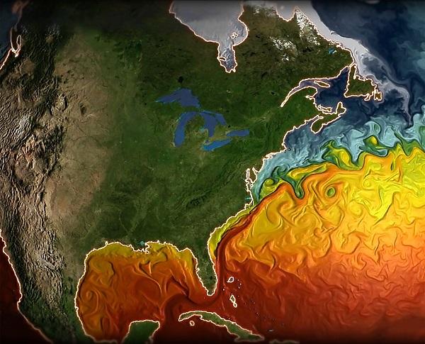 Imagen de la temperatura de superficie del Atlántico Norte simulado por el modelo CM2.6. / Remik Ziemlinski (NOAA GFDL).