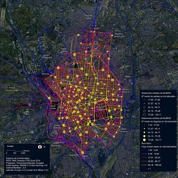Mapa de Madrid con el flujo ciclista en estaciones BiciMAD. / G. R.