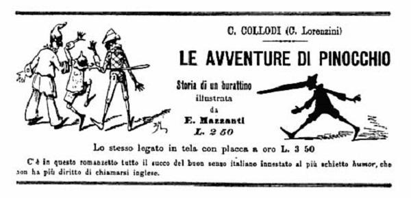 Portada de la primera edición de Las Aventuras de Pinocho en 1883 publicada en el Corriere del Mattino. / Corriere del Mattino.