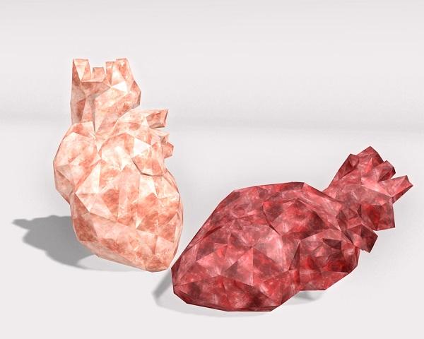 Representación de dos corazones en cristal. / Allegory Malaprop.