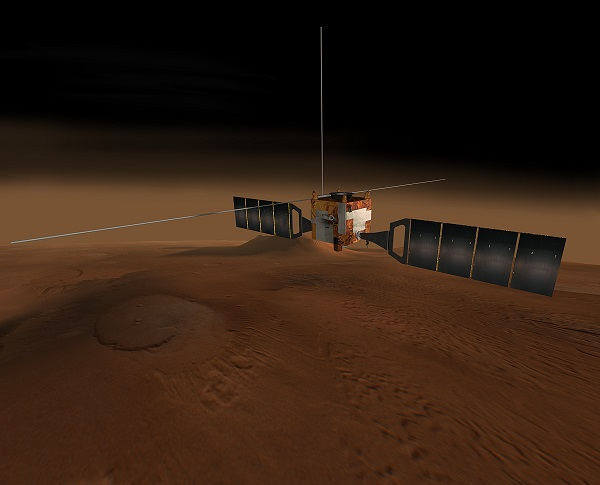 Ilustración de la nave Mars Express. / NASA/JPL/Corby Waste.