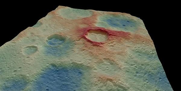 Modelo digital del terreno que muestra el escarpe formado por una falla inversa que deformó los cráteres Kupalo y Juling. / UCM a partir de datos NASA/DAWN.