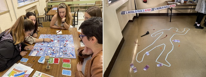 """Escenario del """"crimen"""" del juego de CSI (izquierda) y partida de Quimitureca (derecha). / UCM"""