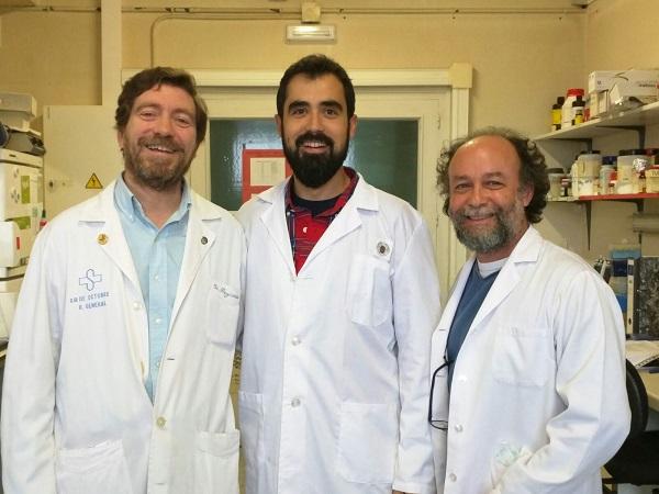 El grupo de la UCM que ha participado en el estudio, de izquierda a derecha: José R. Regueiro, Miguel Muñoz Ruiz y Edgar Fernández Malavé. / E.F.M.