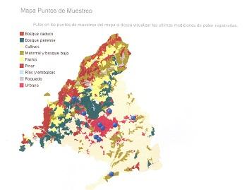 Mapa de Madrid con mediciones de polen de la Red Palinológica. / A.G.B.