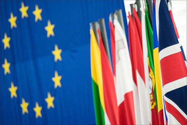 Esta imagen pasará a la historia: la bandera británica junto a las de los países de la Unión Europea / Parlamento Europeo.