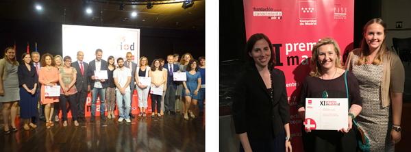 A la izquierda, los miembros de las Unidades de Cultura Científica premiadas. A la derecha, el equipo de la UCC+i de la OTRI UCM (de izquierda a derecha, Laura Chaparro, Rosa Mecha y María Milán). Autores: Comunidad de Madrid / UCM.