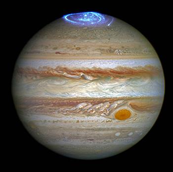 Auroras en uno de los polos de Júpiter captadas por el Hubble. / NASA, ESA y J. Nichols.