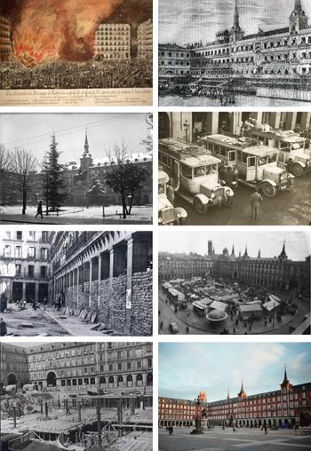 De izquierda a derecha, empezando por arriba, imágenes de la Plaza Mayor: grabado del incendio de 1790; grabado con el uso de plaza de toros en 1846; nevada en 1930; parada de buses en 1932; Guerra Civil de 1936; mercado en 1956; construcción de aparcamiento en 1968, y la plaza hoy. / DMFL.