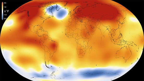 2015 fue el año más caluroso del que se tienen registros. / NASA-NOAA.
