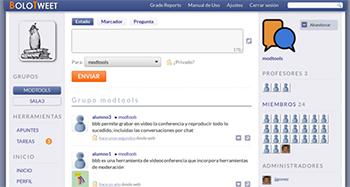 Apariencia real de la herramienta, con microanotaciones de los alumnos. / Bolotweet.