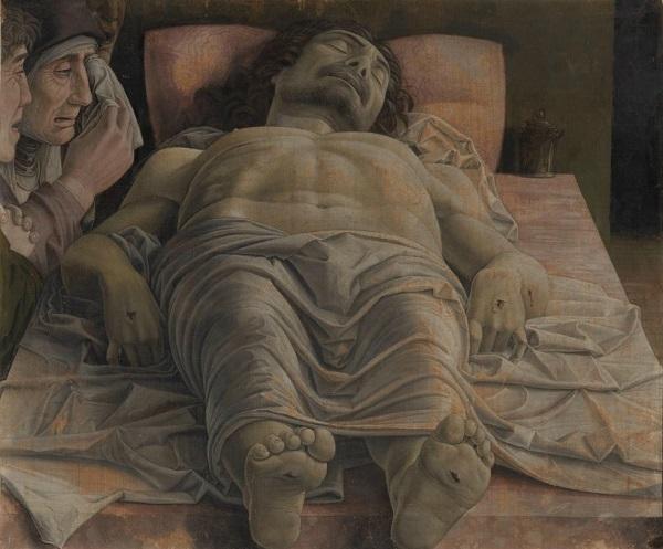 Escorzo en Lamentación sobre Cristo muerto, de Andrea Mantegna. / Andrea Mantegna.