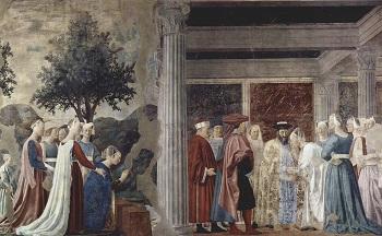 Fresco de la Leyenda de la Vera Cruz Encuentro de la reina de Saba y el Rey Salomón. / Piero della Francesca.
