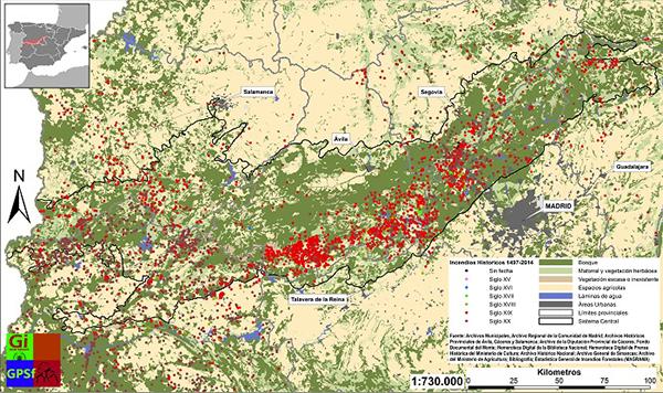 Distribución espacio-temporal de los incendios forestales históricos en el Sistema Central. / Grupo de investigación en Geografìa, Política y Socioeconomía Forestal de la UCM.