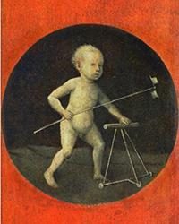 Niño jugando que aparece en el reverso de la obra Subida al Calvario. / El Bosco. Ca 1490. Kunsthistoriches Museum.