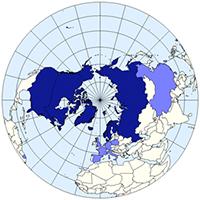Los países en azul oscuro son los miembros del Consejo Ártico y los más claros, observadores. /  Emilfaro.