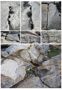 Vestigios de cantería histórica (cuñeras) y contacto entre leucogranito y granodiorita en la cantera de Penaboa (A Coruña).