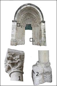 Capitel (1) y base (2) en una única pieza donde se observan dos tipos de piedra. Portada de la iglesia de Santa María de Azogue (siglos XVI-XV). Betanzos (A Coruña).