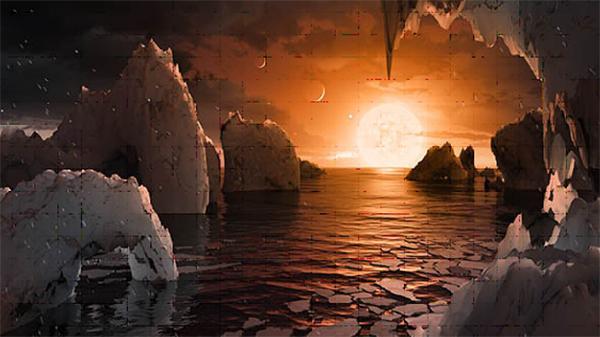 DescripcionEsta ilustración nos permite imaginar lo que sería estar en la superficie del exoplaneta TRAPPIST-1f, uno de los siete hallados en el sistema TRAPPIST-1. / Autores: NASA/JPL-Caltech.
