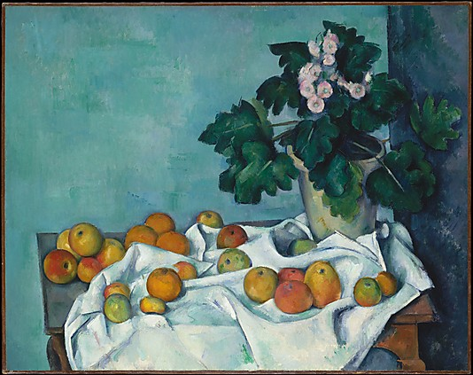 Cezanne. Still life with apples and a pot of primroses - ca. 1890