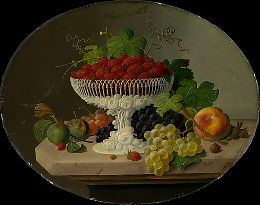 S Roesen. Still life with strawberries in a compote - 1865-70
