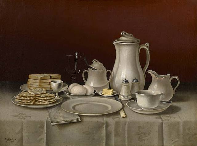 T Hope. Still life with breakfast setting - 1832-1926