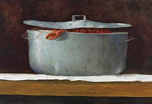 Julio Larraz - Four lobsters in a tube - 1984