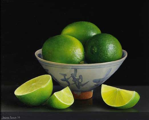 Jessica Brown - Still-life with limes in a Qing bowl and cut limes