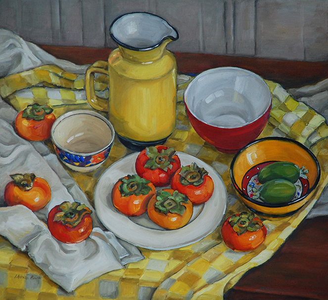 Marian Blank - Yellow still life with persimmons