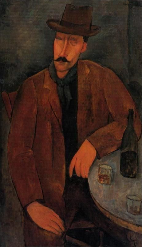 Amadeo Modigliani - Man with a glass of wine - c 1918