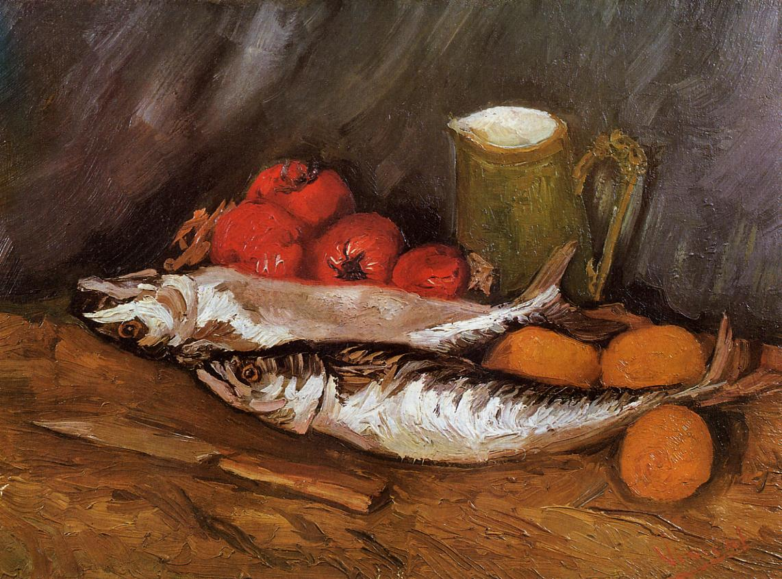 Van Gogh - Still life with mackerels and tomates - 1886