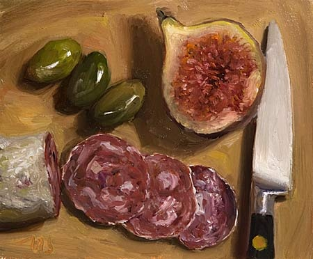 Julian Merrow Smith Fig Half, Saucisson, Knife and Olives