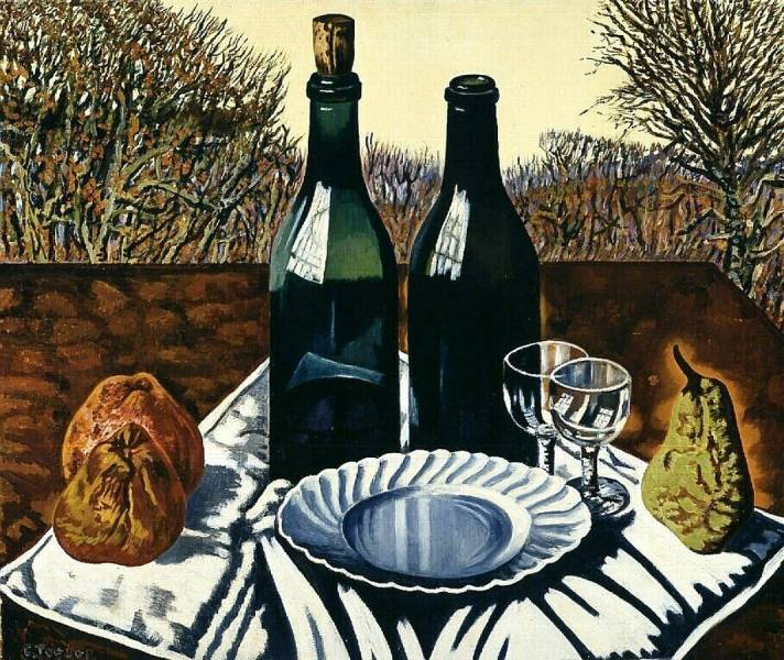 Charley Toorop (1891 - 1955) Still life with bottles, plate, fruit and glasses, 1950-51
