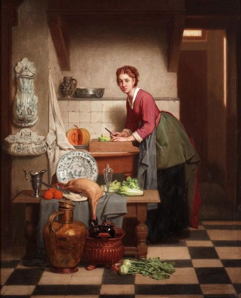 Charles Joseph Grips (1825-1920) A Woman Preparing Vegetables