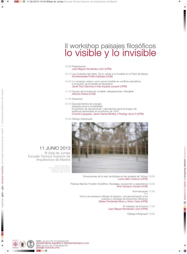 II Workshop Paisajes Filosóficos: Lo visible y lo invisible