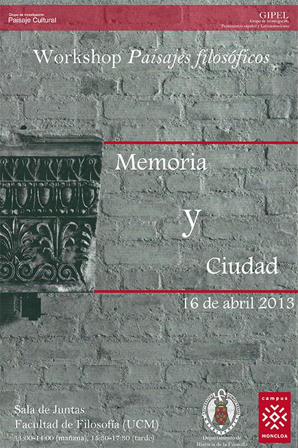 Workshop Paisajes Filosóficos I: Memoria y ciudad
