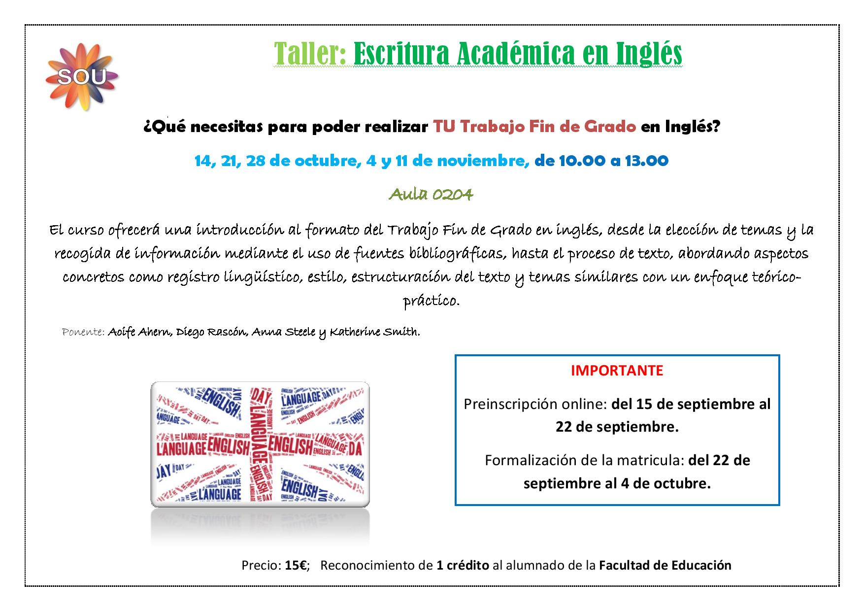 Academic Writing Workshop 2016 - Taller de escritura académica en inglés