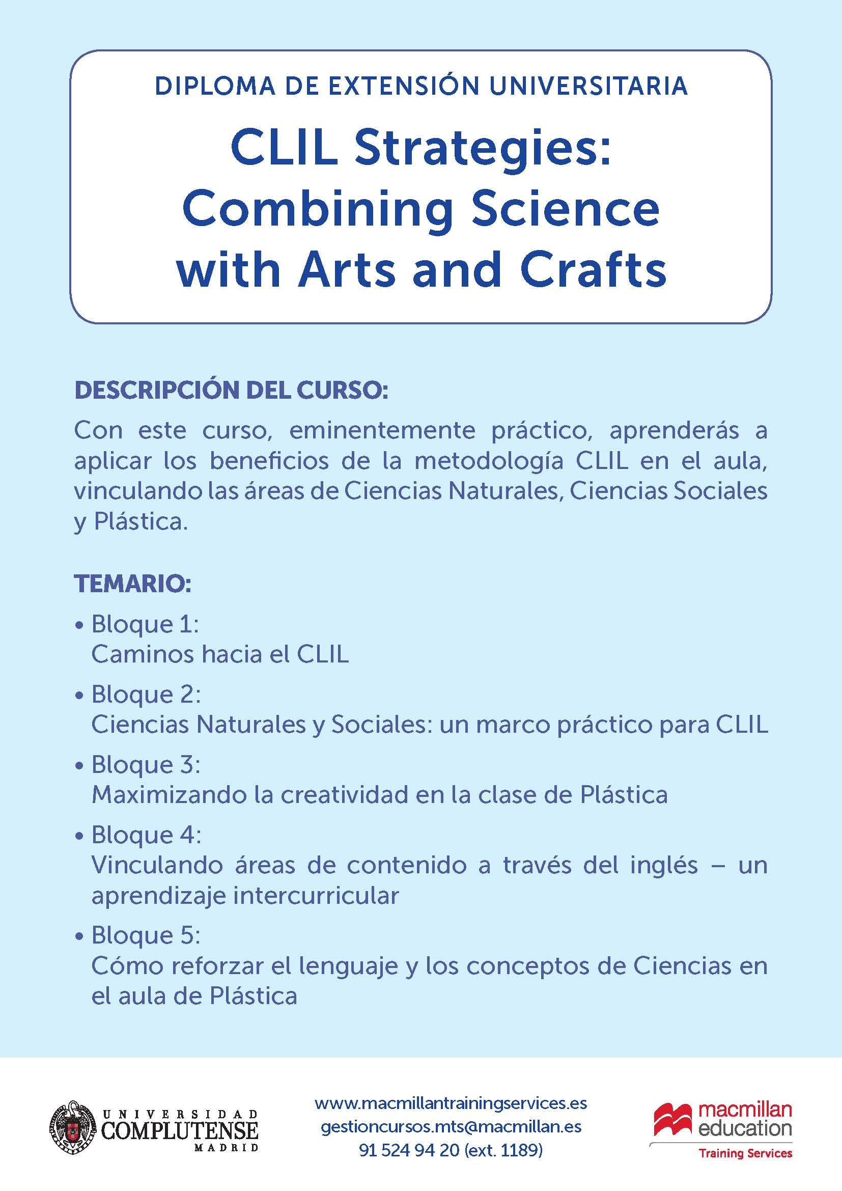 Diploma de Extensión Universitaria.  CLIL Strategies: Combining Science with Arts and Crafts