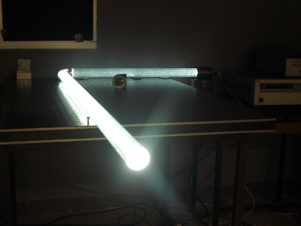Hollow light guide with LED lamp