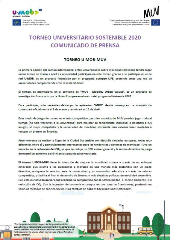 TORNEO UNIVERSITARIO SOSTENIBLE 2020 - 1