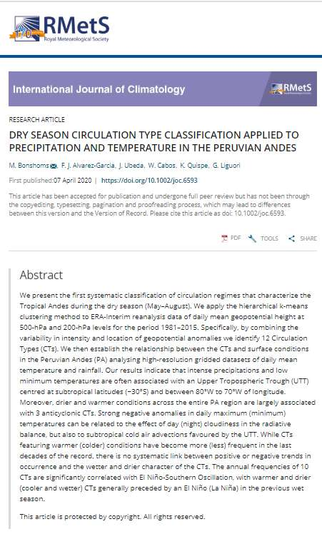 "Nueva publicación del proyecto CRYOPERU ""Dry season circulation type classification applied to precipitation and temperature in the Peruvian Andes"""
