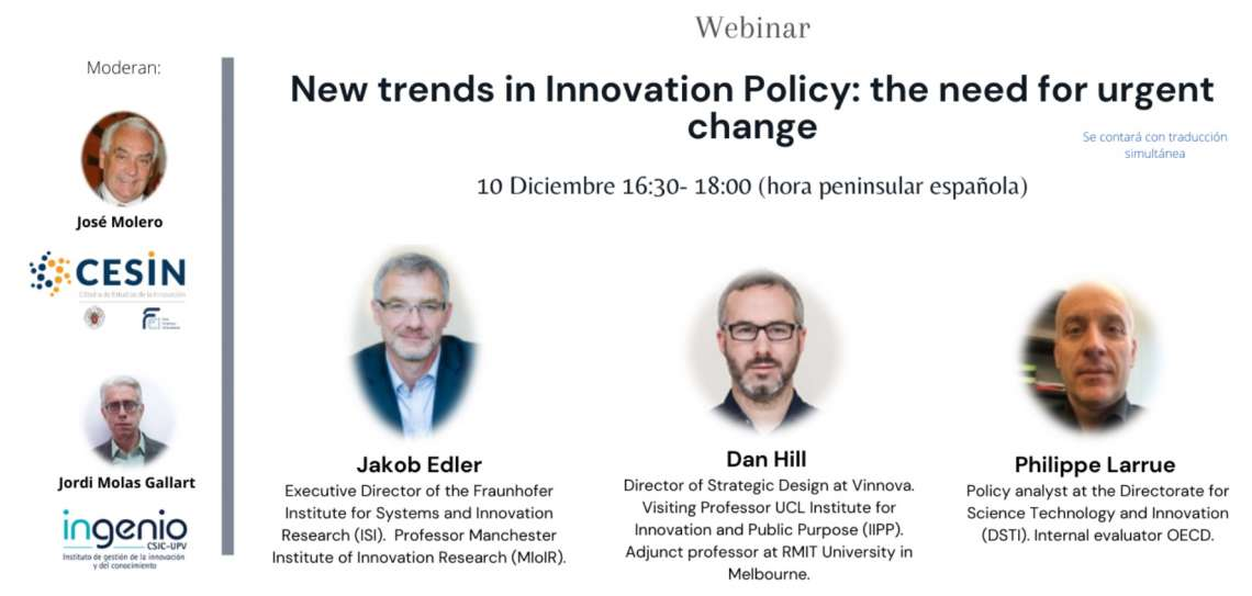 "El próximo 10 de diciembre a las 16:30h, CESIN e INGENIO (CESIC-UPV) organizan webinar ""New trends in innovation policy: the need for urgent change"" - 1"