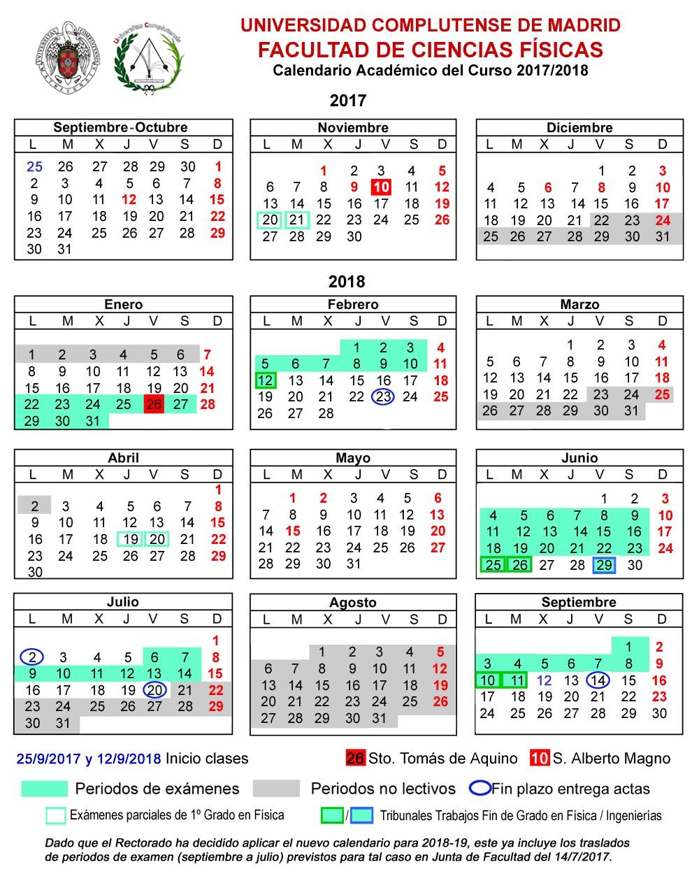 Calendario Academico Uclm 2020 18.Ucm Calendario Academico